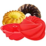 2 Pack Silicone Bundt Cake Pan, Fluted Pound Jello...