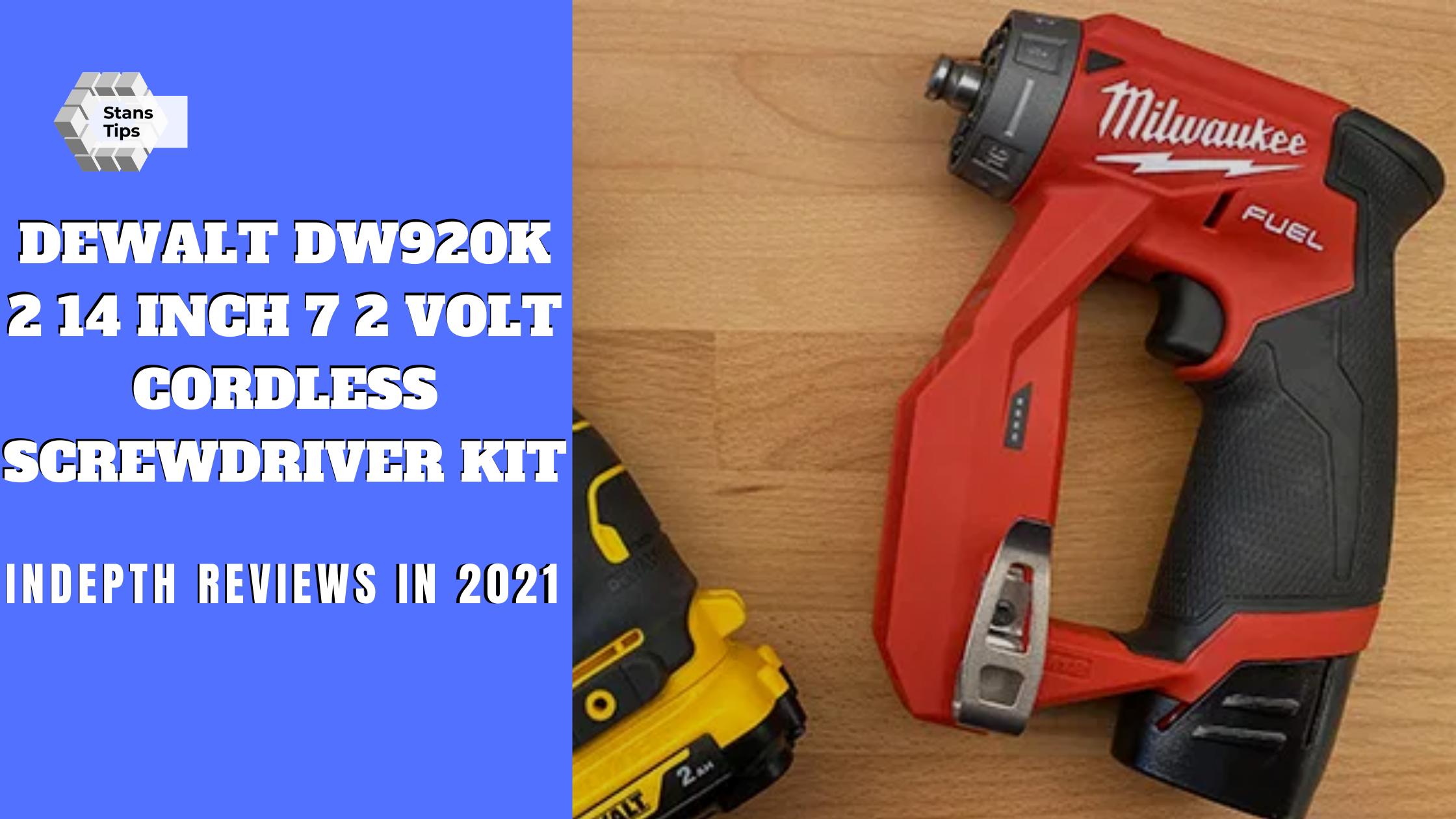 Dewalt dw920k 2 14 inch 7 2 volt cordless two position screwdriver kit