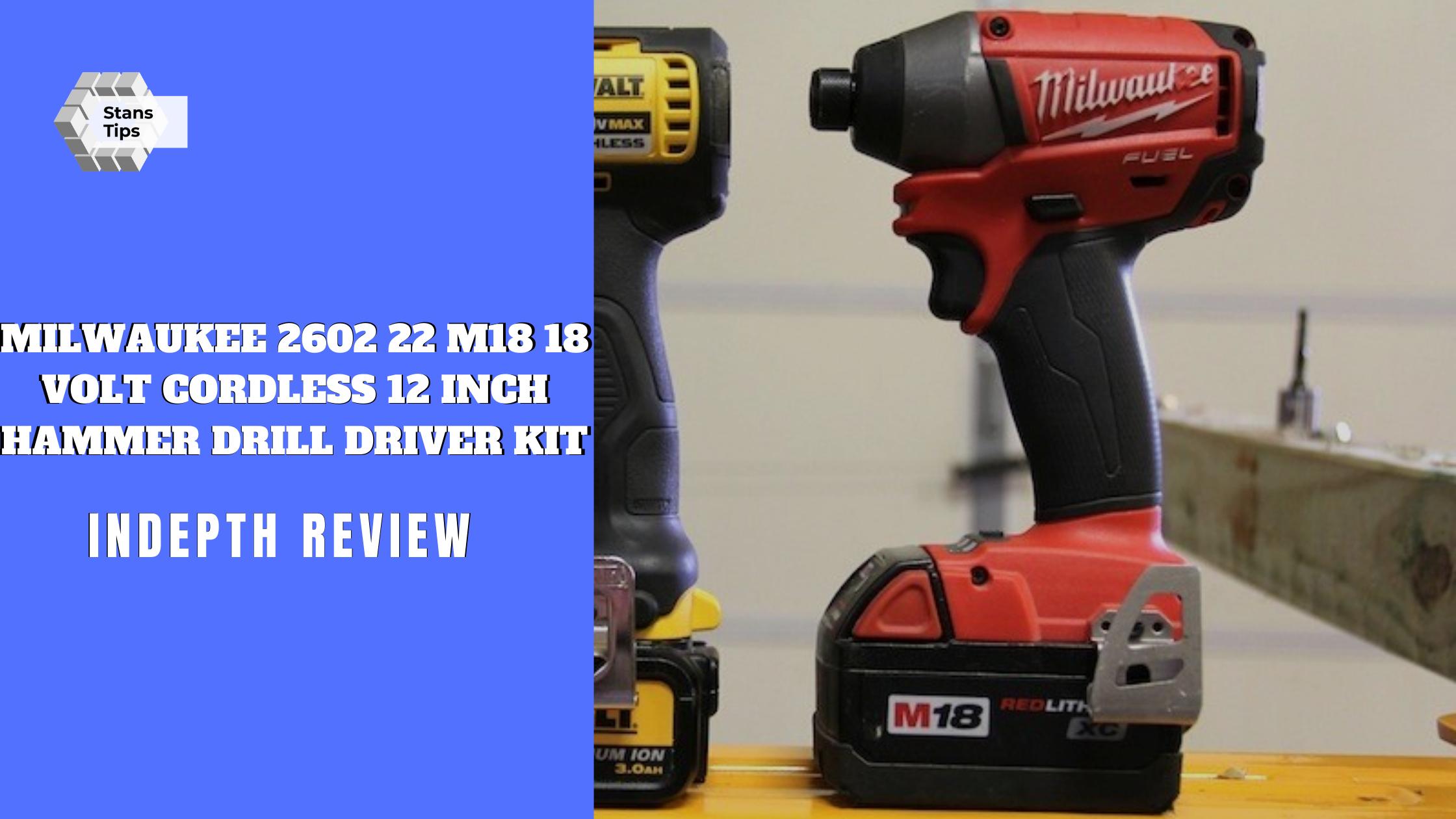 Milwaukee 2602 22 m18 18 volt cordless 12 inch hammer drill driver kit